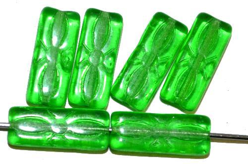 Best.Nr.:49307 vintage style Glasperlen grün transp. mit eingeprägtem Blütenornament,  nach alten Vorlagen aus den 1930 Jahren in Gablonz / Tschechien neu gefertigt