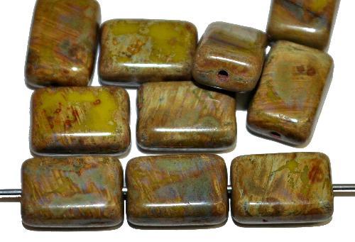 Best.Nr.:49311 Glasperlen Rechtecke oliv mit picasso finish,  hergestellt in Gablonz Tschechien