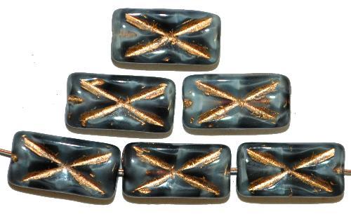 Best.Nr.:49313 Glasperlen Rechtecke,  grau meliert mit Goldauflage und eingeprägtem Kreuz,  hergestellt in Gablonz / Tschechien