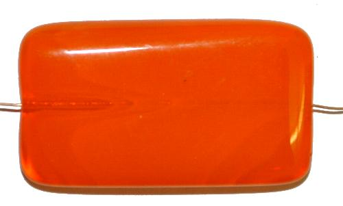 Best.Nr.:49365 Glasperle große flaches Rechteck,  orange,  hergestellt in Gablonz / Tschechien