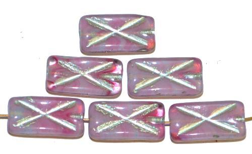 Best.Nr.:49382 Glasperlen Rechtecke,  rosa meliert Silberauflage und eingeprägtem Kreuz, hergestellt in Gablonz / Tschechien