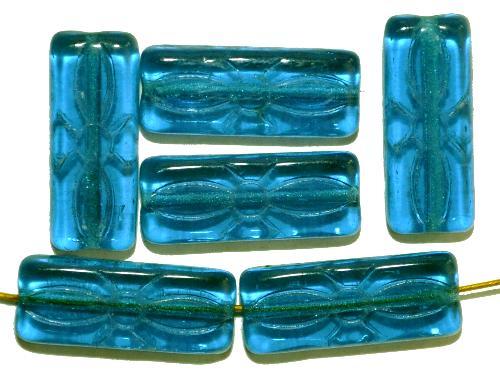 Best.Nr.:49385  vintage style Glasperlen montanablau transp.  mit eingeprägtem Blütenornament,  nach alten Vorlagen aus den 1930 Jahren neu gefertigt