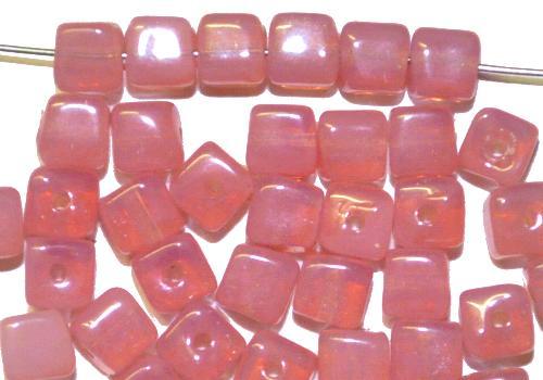 Best.Nr.:49386  Glasperlen Würfel  Opalglas rosa,  hergestellt in Gablonz / Tschechien