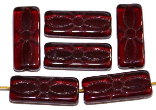 Best.Nr.:49388  vintage style Glasperlen dunkelrot transp.  mit eingeprägtem Blütenornament,  nach alten Vorlagen aus den 1930 Jahren neu gefertigt