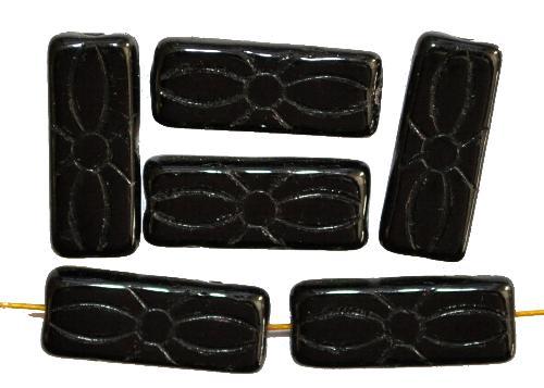 Best.Nr.:49396  vintage style Glasperlen schwarz  mit eingeprägtem Blütenornament,  nach alten Vorlagen aus den 1930 Jahren neu gefertigt