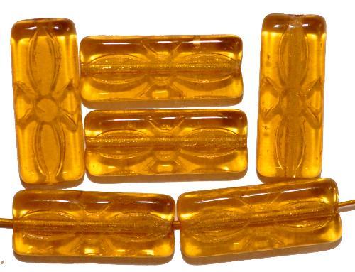 Best.Nr.:49399 vintage style Glasperlen topas transp.  mit eingeprägtem Blütenornament,  nach alten Vorlagen aus den 1930 Jahren neu gefertigt