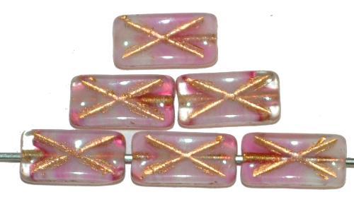 Best.Nr.:49399 Glasperlen Rechtecke, rosa marmoriert mit Goldauflage und eingeprägtem Kreuz, hergestellt in Gablonz / Tschechien