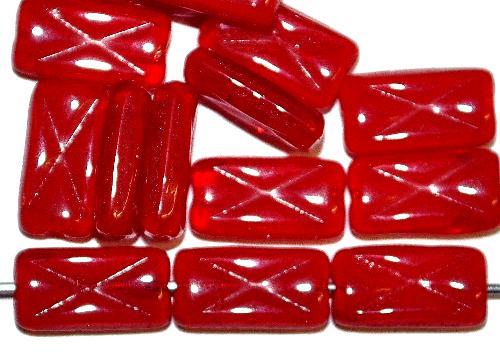 Best.Nr.:49404 Glasperlen Rechtecke,  rot mit eingeprägtem Kreuz, Hergestellt in Gablonz / Tschechien