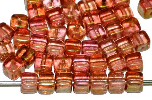 Best.Nr.:49406  Glasperlen Würfel  violett bronziert,  hergestellt in Gablonz / Tschechien