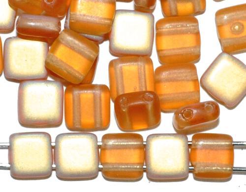 Best.Nr.:49412 Glasperlen mit zwei Löchern, Twin Hole Beads topas transp. mit AB mattiert, hergestellt in Gablonz / Tschechien
