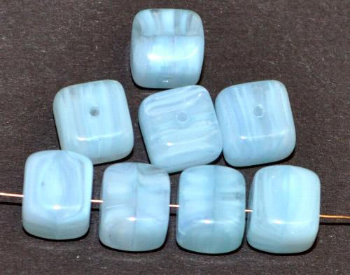 Best.Nr.:49413 Glasperlen Würfel  eisblue meliert,  hergestellt in Gablonz / Tschechien