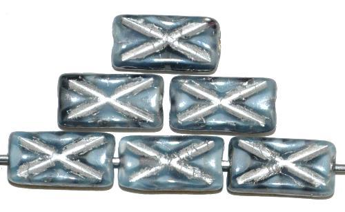 Best.Nr.:49416 Glasperlen Rechtecke, grau marmoriert mit Silberauflage und eingeprägtem Kreuz, hergestellt in Gablonz / Tschechien