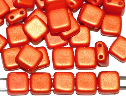 Best.Nr.:49417 Glasperlen mit zwei Löchern, Twin Hole Beads red shine matt, hergestellt in Gablonz / Tschechien