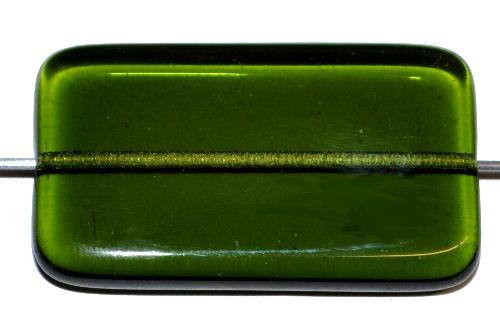 Best.Nr.:49421 Glasperle große flaches Rechteck,  oliv transp.,  hergestellt in Gablonz / Tschechien