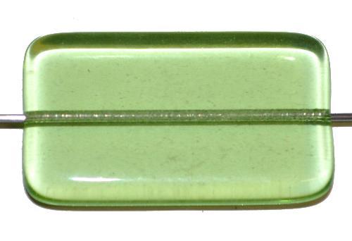 Best.Nr.:49426 Glasperle große flaches Rechteck,  hellgrün transp.,  hergestellt in Gablonz / Tschechien