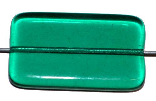 Best.Nr.:49427 Glasperle große flaches Rechteck,  petrol transp.,  hergestellt in Gablonz / Tschechien