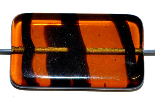 Best.Nr.:49434 Glasperle große flaches Rechteck,  topas transp.,  hergestellt in Gablonz / Tschechien