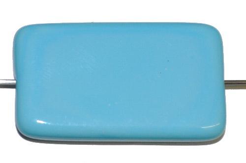 Best.Nr.:49435 Glasperle große flaches Rechteck,  hellblau opak,  hergestellt in Gablonz / Tschechien