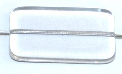 Best.Nr.:49436  Glasperle große flaches Rechteck,  kristall,  hergestellt in Gablonz / Tschechien