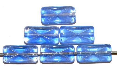 Best.Nr.:49446 Glasperlen Rechtecke blau transp. mit eingeprägtem Kreuz, hergestellt in Gablonz / Tschechien