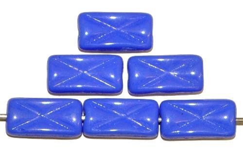 Best.Nr.:49447 Glasperlen Rechtecke, blau opak mit eingeprägtem Kreuz, hergestellt in Gablonz / Tschechien