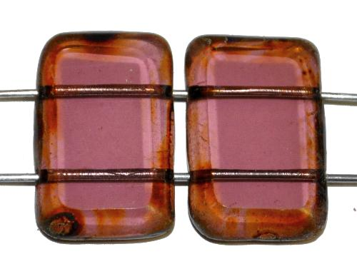 Best.Nr.:67818 Glasperlen / Table Cut Beads geschliffen  mit 2 Löchern  frenchviolett transp. mit picasso finish,  hergestellt in Gablonz / Tschechien