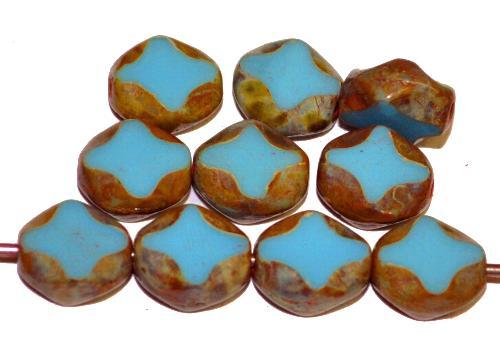 Best.Nr.:671447 Glasperlen / Table Cut Beads  geschliffen, hellblau opak mit picasso finish,  hergestellt in Gablonz Tschechien