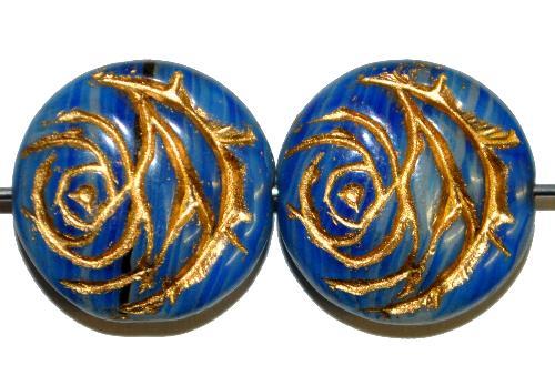 Best.Nr.:50005 vintage style Glasperlen flache Linsenform, Rosenblüte ,blau mit Goldauflage,  nach alten Vorlagen aus den 1920 Jahren in Gablonz/Böhmen neu gefertigt