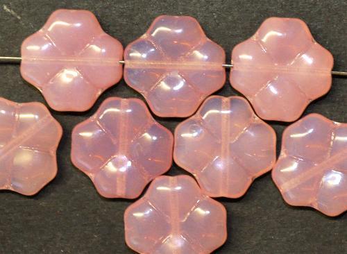 Best.Nr.:50006 Glasperlen Blüten,  rosa opal,  hergestellt in Gablonz / Tschechien