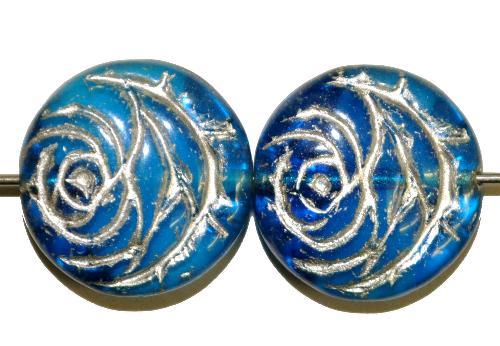 Best.Nr.:50028 vintage style Glasperlen flache Linsenform, Rosenblüte ,blau mit Silberauflage, nach alten Vorlagen aus den 1920 Jahren in Gablonz/Böhmen neu gefertigt
