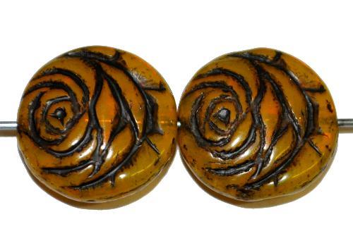 Best.Nr.:50030 vintage style Glasperlen flache Linsenform, Rosenblüte, topas transp. mit Farbauflage schwarz,  nach alten Vorlagen aus den 1920 Jahren in Gablonz/Böhmen neu gefertigt