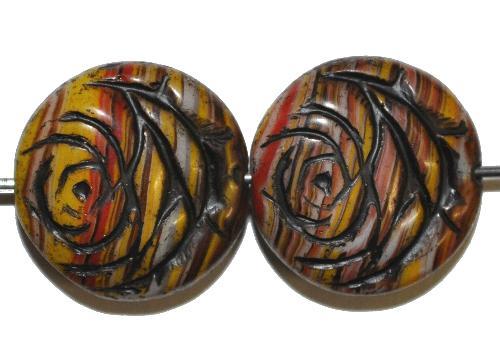 Best.Nr.:50045 vintage style Glasperlen flache Linsenform, Rosenblüte ,multicolor mit Farbauflage schwarz,  nach alten Vorlagen aus den 1920 Jahren in Gablonz/Böhmen neu gefertigt