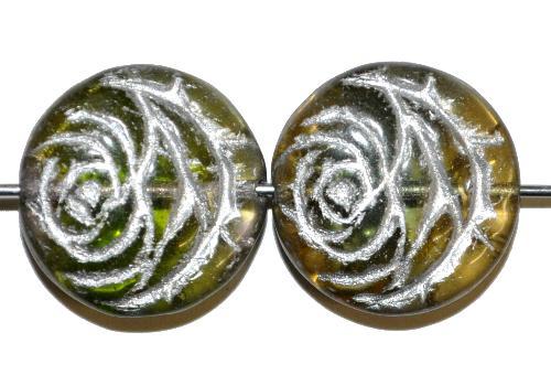 Best.Nr.:50064  vintage style Glasperlen flache Linsenform, Rosenblüte ,oliv transp. mit Silberauflage,  nach alten Vorlagen aus den 1920 Jahren in Gablonz/Böhmen neu gefertigt