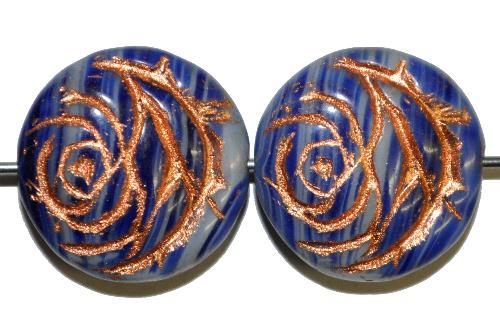 Best.Nr.:50092  vintage style Glasperlen flache Linsenform, Rosenblüte ,blau mit Kupferauflage,  nach alten Vorlagen aus den 1920 Jahren in Gablonz/Böhmen neu gefertigt
