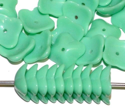 Best.Nr.:50103 Glasperlen Blüten, mint opak, in der Zeit von 1950 bis 1970 in Gablonz / Tschechien hergestellt
