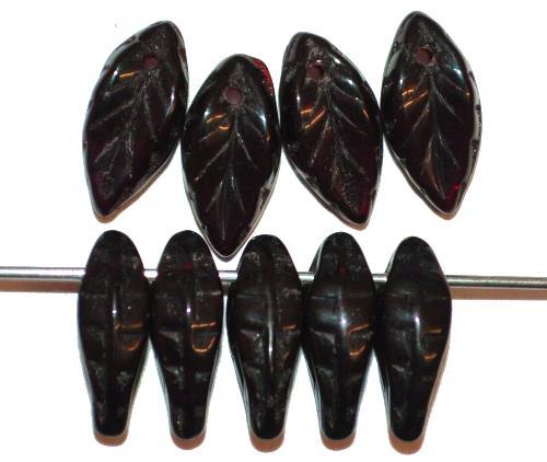 Best.Nr.:50114  Glasperlen Blätter  dunkelstes granatrot,  hergestellt in Gablonz / Tschechien