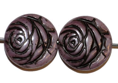 Best.Nr.:50129 vintage style Glasperlen flache Linsenform, Rosenblüte ,violett Perlettglas mit Farbauflage schwarz,  nach alten Vorlagen aus den 1920 Jahren in Gablonz/Böhmen neu gefertigt