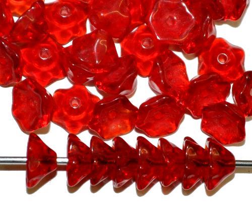 Best.Nr.:50173 Glasperlen Blüte,  rot transp.,  in Gablonz/Böhmen gefertigt