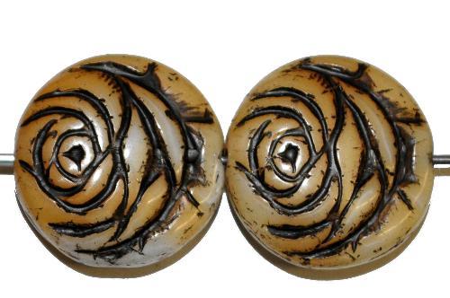 Best.Nr.:50199 vintage style Glasperlen flache Linsenform, Rosenblüte ,beige mit Farbauflage schwarz,  nach alten Vorlagen aus den 1920 Jahren in Gablonz/Böhmen neu gefertigt