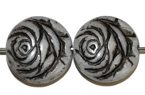 Best.Nr.:50203 vintage style Glasperlen flache Linsenform, Rosenblüte ,silk mit Farbauflage schwarz,  nach alten Vorlagen aus den 1920 Jahren in Gablonz/Böhmen neu gefertigt