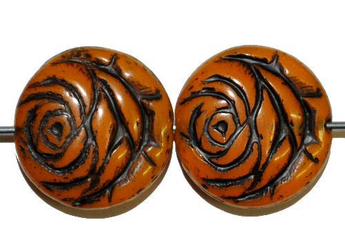 Best.Nr.:50211 vintage style Glasperlen flache Linsenform, Rosenblüte ,teracotta mit Farbauflage schwarz,  nach alten Vorlagen aus den 1920 Jahren in Gablonz/Böhmen neu gefertigt