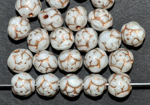 Best.Nr.:50215  Glasperlen Röschen weiß mit Goldauflage, hergestellt in Gablonz / Tschechien