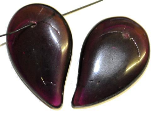Best.Nr.:50234 große Glasanhänger Tropfen bzw. Blattform  violett transp.,  hergestellt in Gablonz / Tschechien