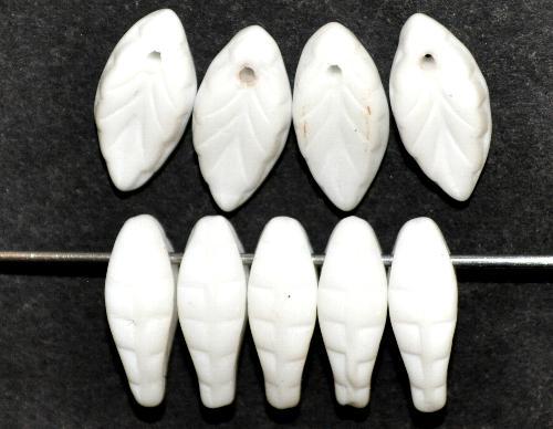 Best.Nr.:50249 Glasperlen Blätter  weiß opak,  hergestellt in Gablonz / Tschechien