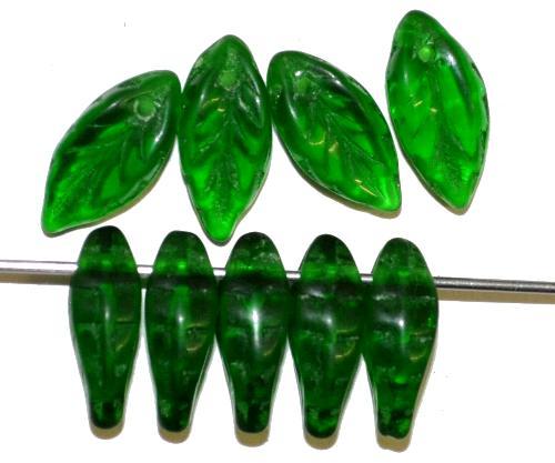 Best.Nr.:50251  Glasperlen Blätter  grün transp.,  hergestellt in Gablonz / Tschechien