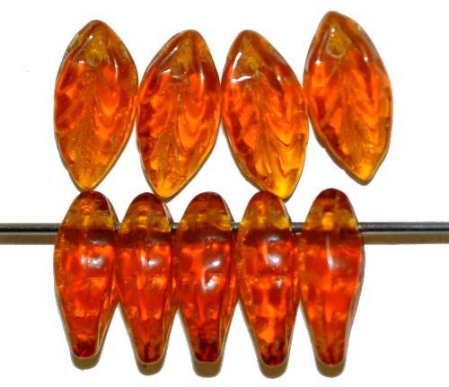 Best.Nr.:50252  Glasperlen Blätter  topas transp.,  hergestellt in Gablonz / Tschechien