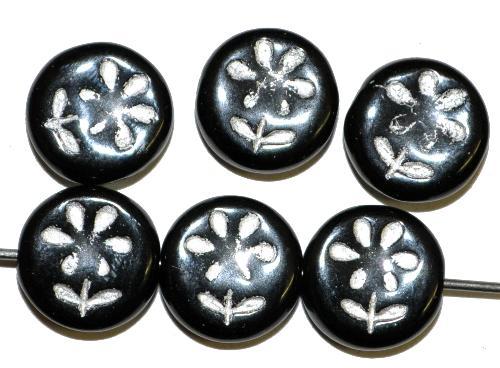 Best.Nr.:50254 Glasperlen,  Scheibe schwarze mit eingeprägter Blüte ,  in Gablonz/Böhmen gefertigt