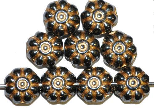 Best.Nr.:50262 Glasperlen Blüten,  schwarz mit lüster und Golgauflage,  hergestellt in Gablonz / Tschechien