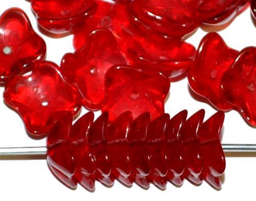 Best.Nr.:50264 Glasperlen Blüten, rot transp., in der Zeit von 1950 bis 1970 in Gablonz / Tschechien hergestellt