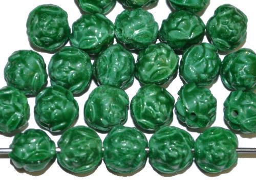 Best.Nr.:50265  Glasperlen Röschen  grün opak,  hergestellt in Gablonz / Tschechien